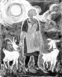 bauernmädchen mit vollmond und zwei ziegen by hans leip