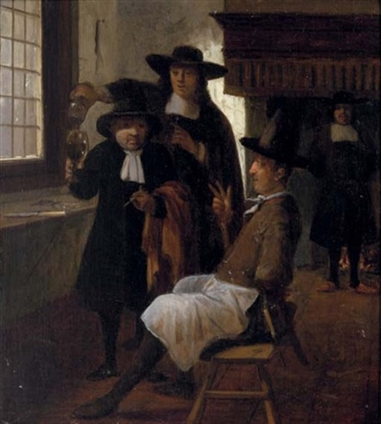 townsfolk drinking and smoking in an inn by gerrit lundens
