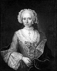 bildnis einer dame. sie trägt ein aufwendig gearbeitetes kleid mit spitzenbesatz by j.c. rithmann