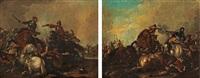 battle scenes (pair) by georg philipp rugendas the elder