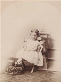 little girl at steps (+ little girl seated; 2 works) by oscar gustave rejlander