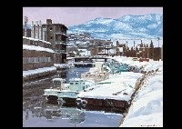 otaru canal in the snow by hiroshi higuchi