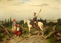 preußische ulanen mit verwundeten by christian sell the elder