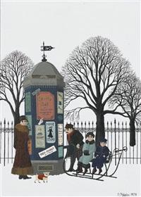 winterszene mit familie an einer litfasssäule by maria palatini