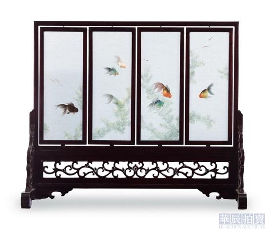 goldfishes folding screen by zhou aizhen