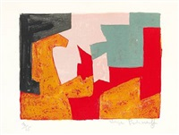 composition orange, noire, rose, verte et rouge by serge poliakoff