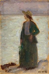 elegante dame beim strandspaziergang by hans von faber du faur