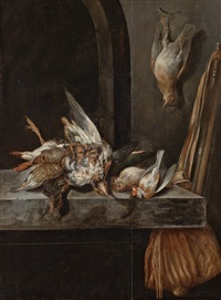 still life with hunting rifle and birds by jan vonck