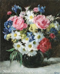 still life with pink and white flowers by victor abeloos