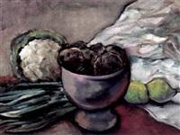 stilleben mit obst und gemüse, aufsatzschale und weißem tuch by oswald baer
