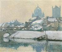wintertag am rheinufer vor neuss by maximilien (max) clarenbach