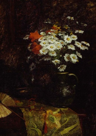 still life with daisies in a pitcher by lucie jacquart