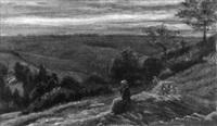 rastende hirtin mit hund in hügeliger landschaft by jules gaspard rastoux