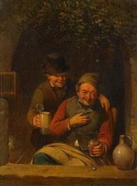 fensternische mit zwei fröhlichen zechern by franciscus melzer