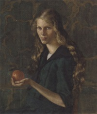 portrait of a young girl in a green dress holding an orange by benjamin a. strasser