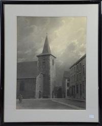 eglise de gilly village by léonard misonne