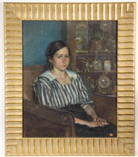 portrait of a young girl in striped blouse by annaliese alexander