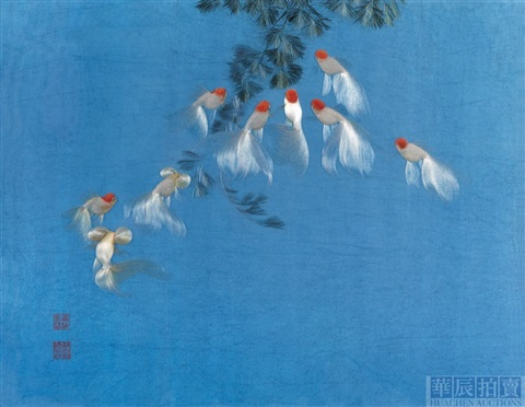auspicious nine goldfishes embroidered by xu meilin by zhou aizhen