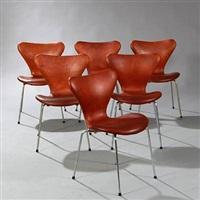 seven chair (model 3107) (set of 6) by arne jacobsen