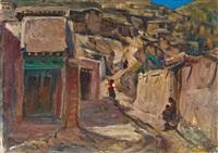 夏河小巷 (scenery of xiahe) by xu jianbai