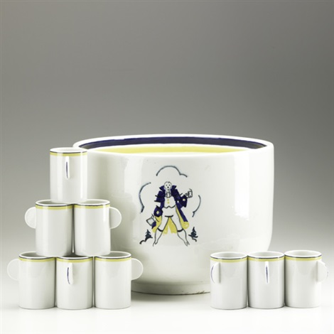 punch bowl set set of 10 by russell barnett aitken