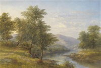 summer river landscape with figures fishing beside trees by james poole