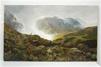paesaggio montano con cervi by henry w. henley