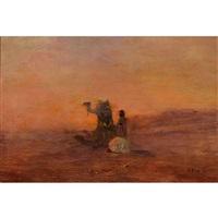 sandsturm - araber am abendgebet by otto pilny