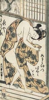 slipping out of a robe at the bath (hosoban tate-e) by ishikawa (nishimura shigenobu) toyonobu