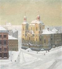 winterliche ansicht der st. nikolauskirche in prag by antonie rehorkova