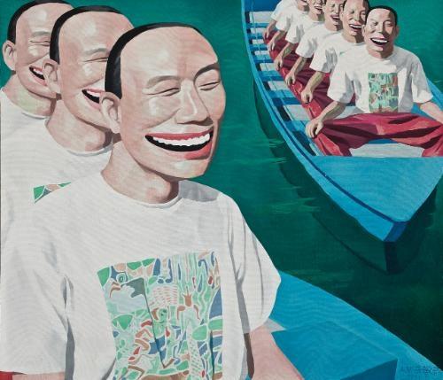boating by yue minjun
