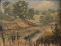 summer landscape with winding road by don emil glasell