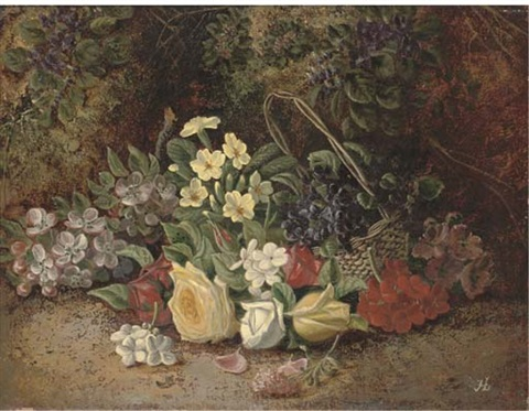 summer flowers in a wicker basket on a mossy bank by henry j livens