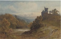 sheep grazing above a river landscape by frederick mercer