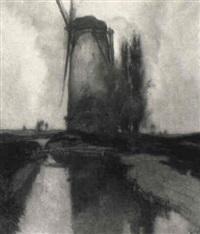 norddeutsche landschaft mit kanal und windmühle by karl leipold