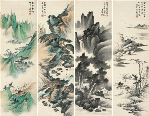 山水 landscape in 4 parts by xiao xun