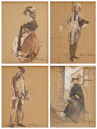 uomini e donne in costume (5 works) by angiolo tommasi