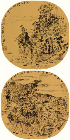 江畔静泊图 2 works by liu yong