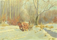 winter landscape with cart and horses by wlodzimierz tetmayer