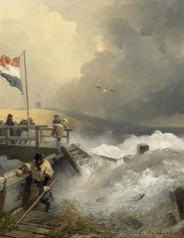 sturm an der holländischen küste by andreas achenbach