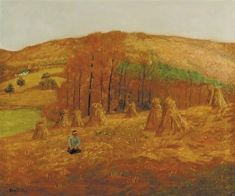 cornfield and autumn hills by ben foster