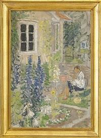 trädgårdsbild med sittande kvinna by arthur percy