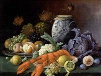 stilleben mit früchten, gemüse und hummer by alois zabehlicky