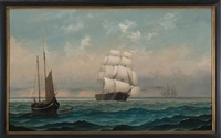 ship at sail with fishing boat and schooner by mary blood mellen