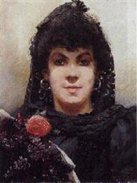 portræt af kvinde med blomster by henri van melle
