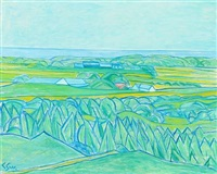 agricultural landscape with sea horizon by christine swane