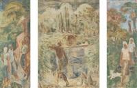 szenen aus dem ländlichen leben i (triptych, various sizes) by albert haueisen
