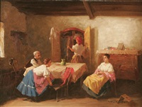 interior scene with three women and man by gyertyanyi nemeth