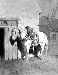 gaul an einem scheunentor by jean-antoine-simeon fort