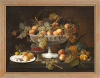 opulent still life of a white compote overflowing with fruit by severin roesen